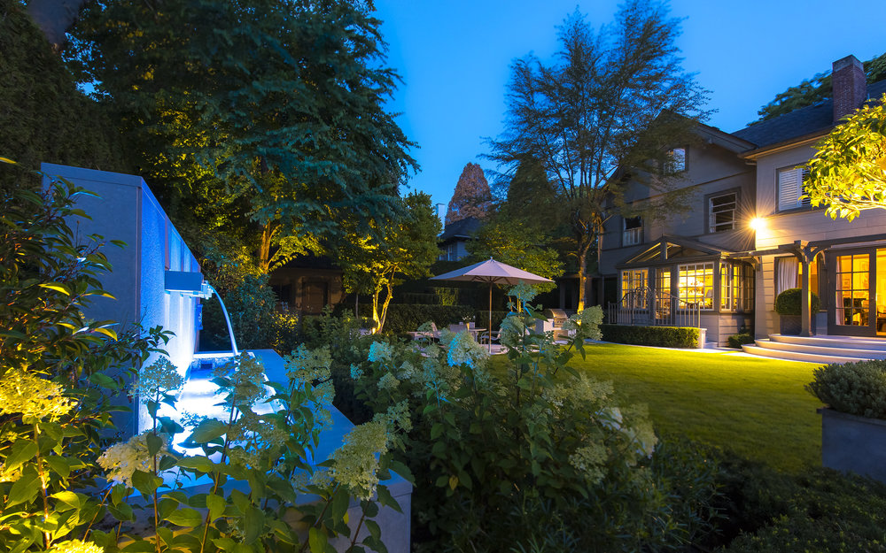 Vancouver residential landscape design with lighting