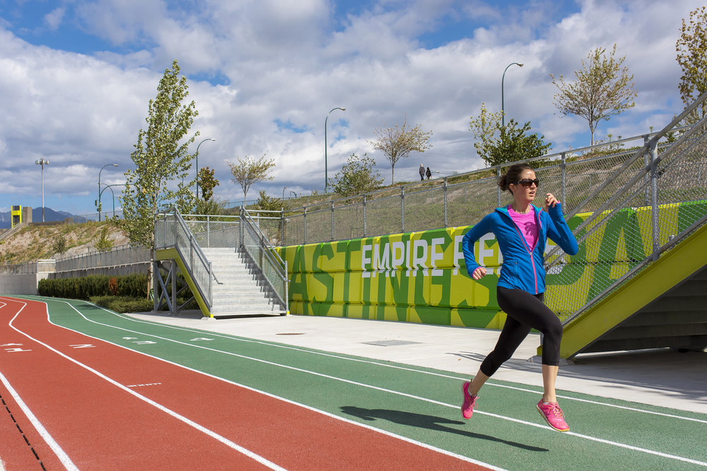 Empire fields running track landscape architecture Vancouver by PFS Studio