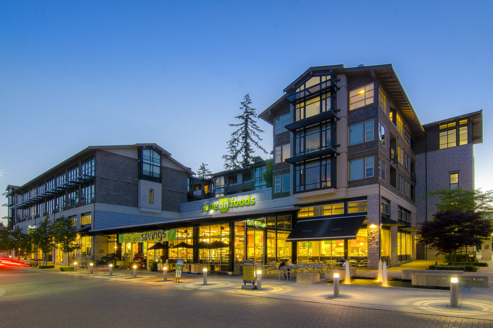UBC Wesbrook Village shopping plaza by Perry + Associates Landscape Architects