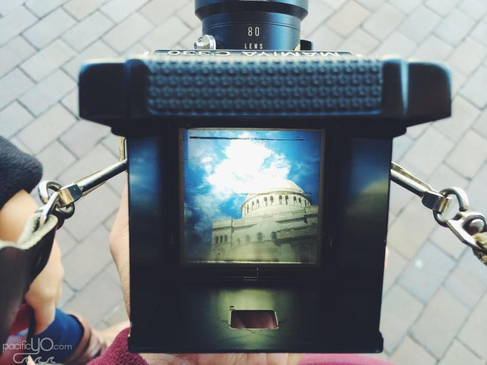 Through the viewfinder of my Mamiya C330.