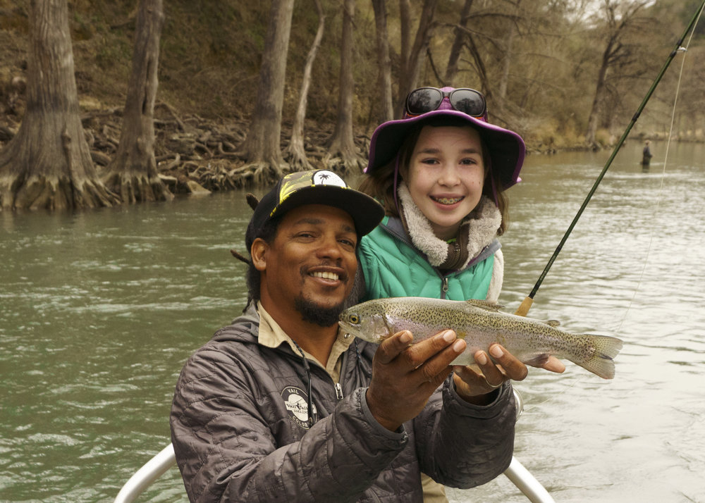 Alvin and Grace with a Guadalupe River rainbow trout