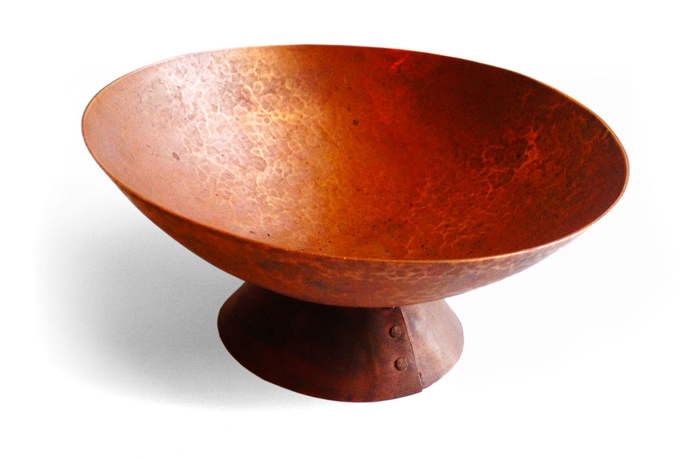 {  hand hammered copper bowl with riveted base  }