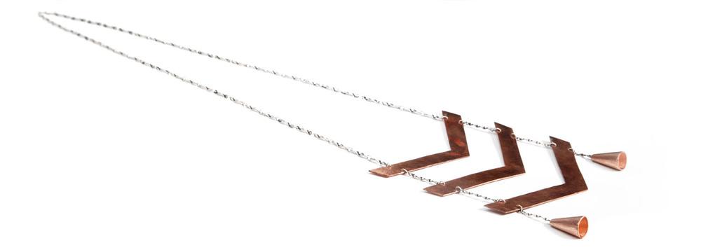 {  sterling silver & copper chevron necklace / hand cut from 18ga copper sheet  } /  photographer: luke allerdice
