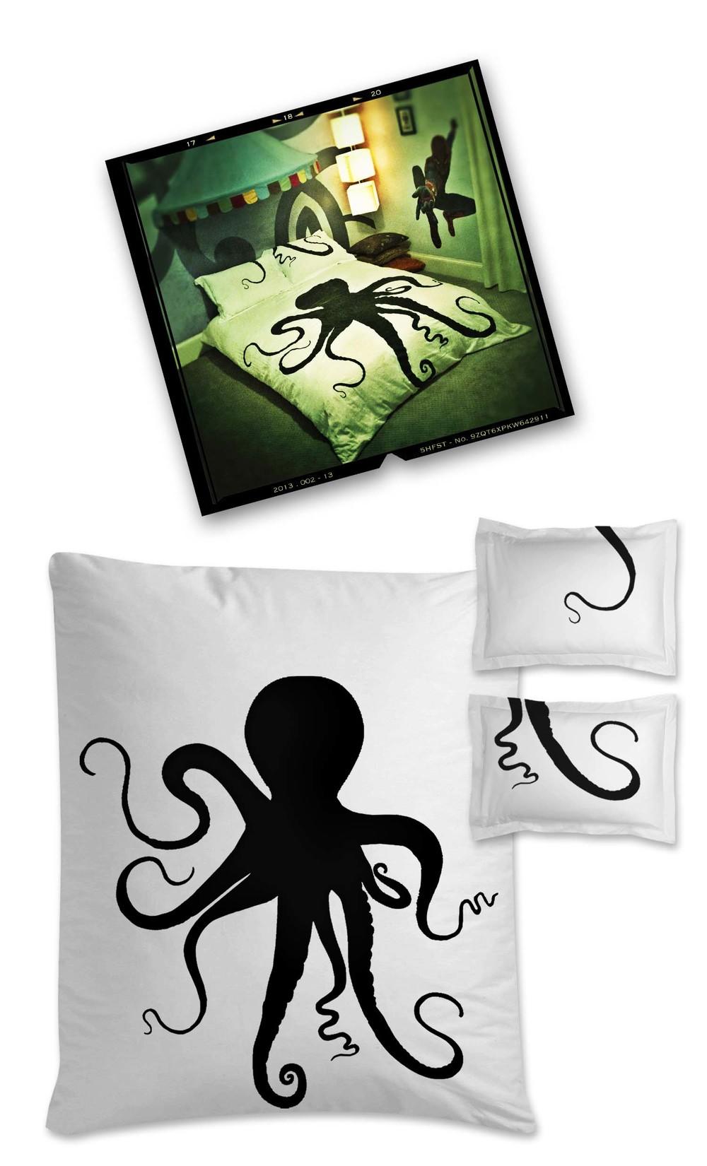 "{  octopus duvet & pillow cases  }  54"" x 75"" / hand painted"