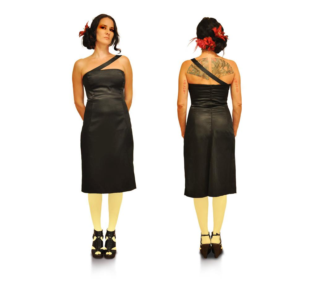 {  little black wiggle dress  } design + construction / 100% satin