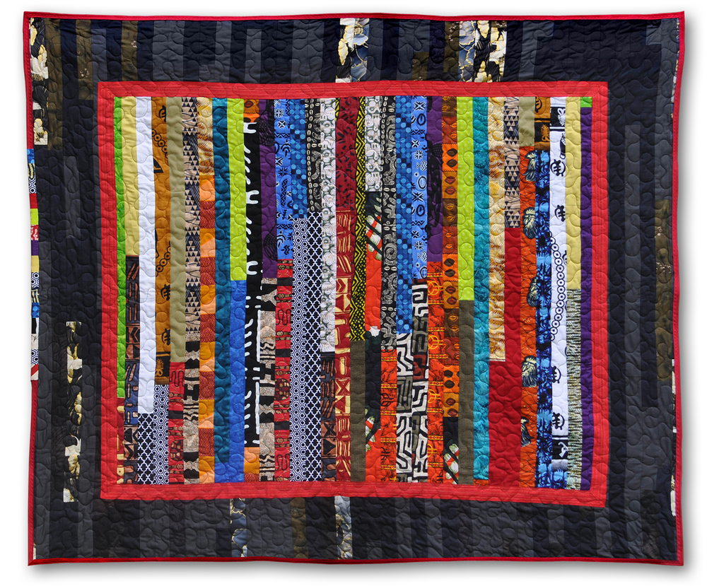 "{   strip quilt   } made primarily with french + haitian fabrics  /  124"" x 80"""