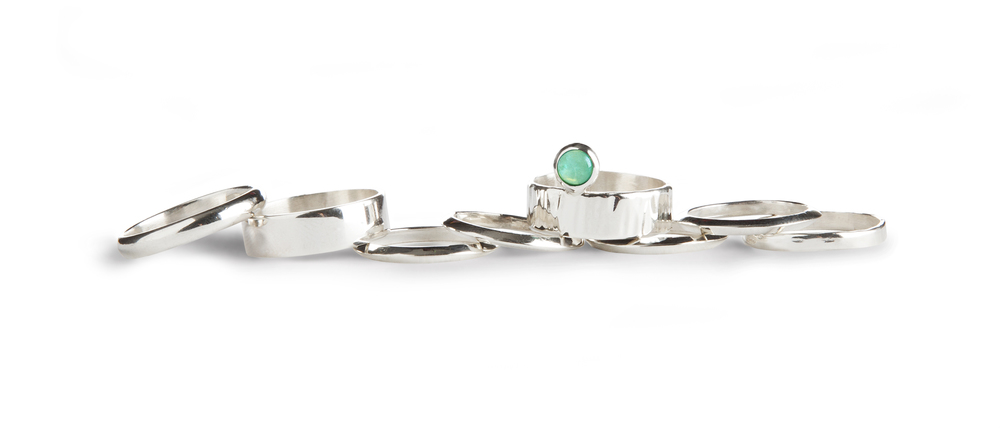 {  sterling silver / aventurine cabochon / hand hammered rings  } knife-edge, wide-bands, half-round + textured