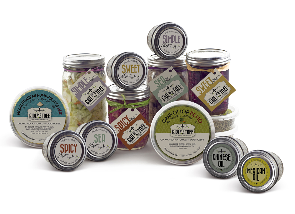 {   girl in a tree foods   }   labels + tags for entire product line of fermented vegetables, pâtés, pestos + oils