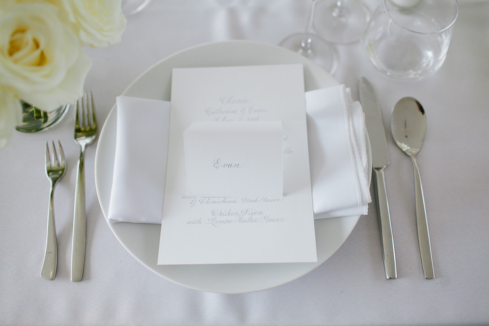 white wedding details