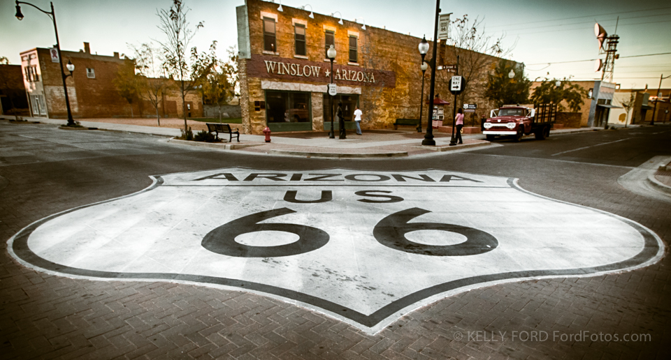 "Get your kicks on Route 66 (Nat King Cole) or perhaps you prefer ""Standing on the corner in Winslow Arizona"" (The Eagles). You can find them both at this one location in Winslow, Arizona."