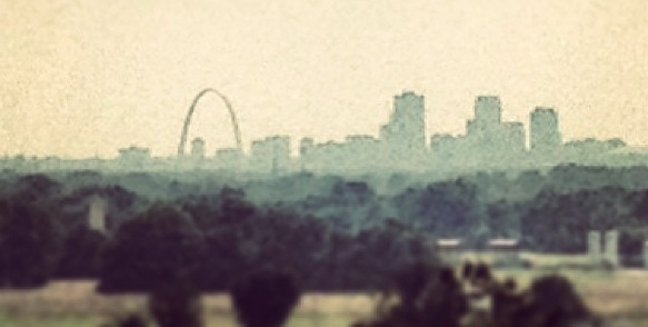 View of St. Louis from the Cahokia Mounds.