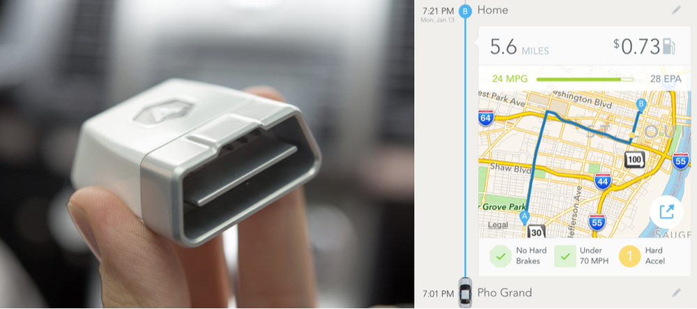 The Automatic device plugs into the diagnostics port of your car to track your driving habits by monitoring your trips, and gives you visual and audio feedback through the accompanying mobile app.