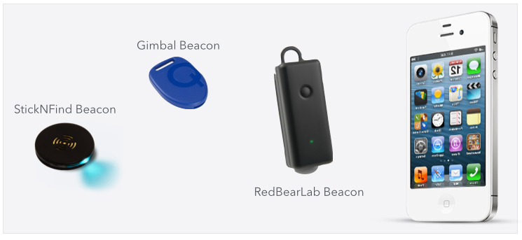 StickNFind ,  Gimbal , and  RedBearLab  beacons use Bluetooth LE technology to detect the proximity of a mobile device.