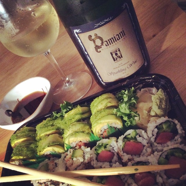 Night off = Takeout Sushi & Traditional Method Sparkling #Riesling @FLXwine @damianiwine