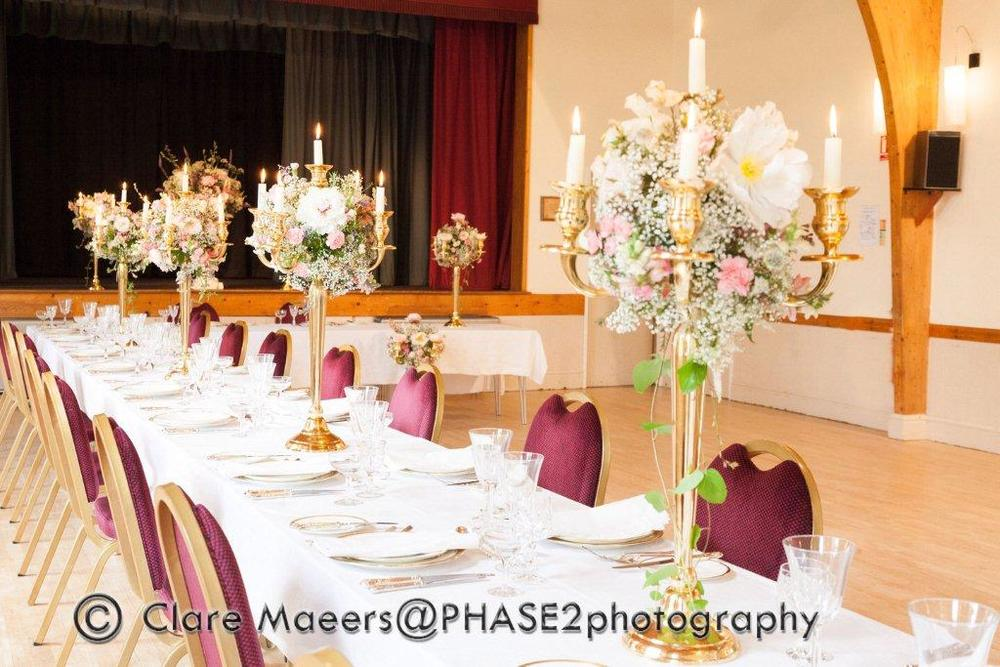 Village hall wedding venue table settings 2