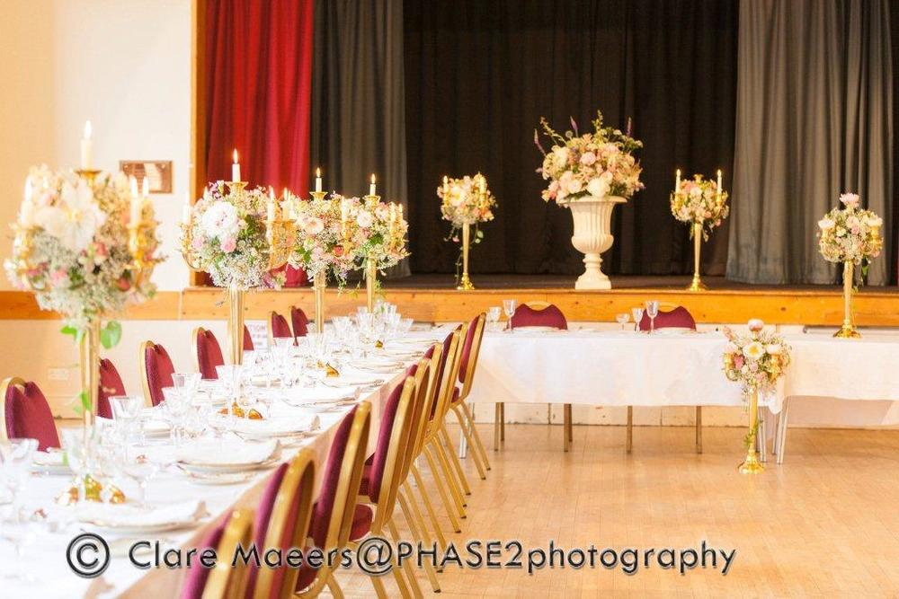Village hall wedding venue table settings 3