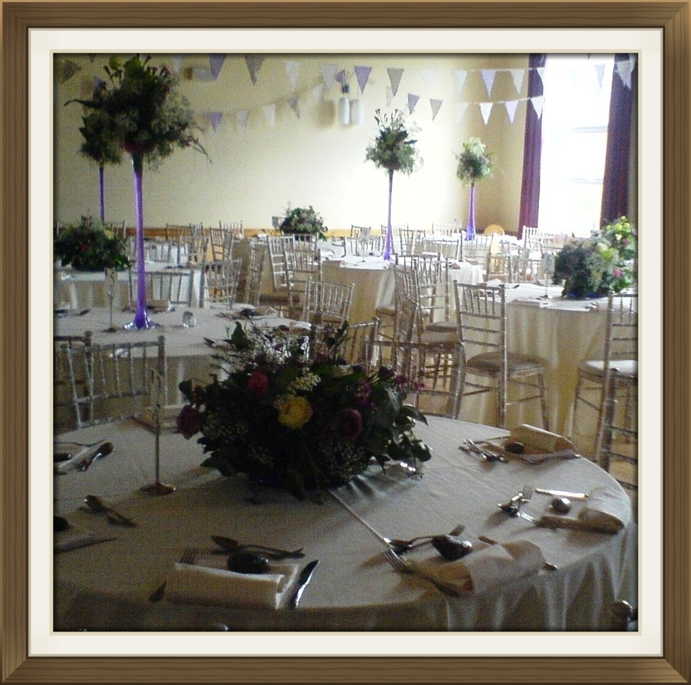 Village hall wedding venue table settings 4