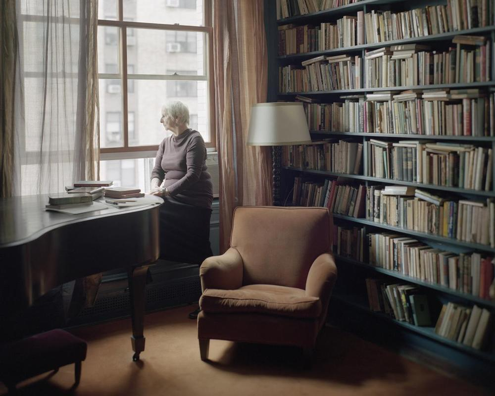 Linda Asher in her Manhattan apartment. She is the former fiction editor of  The New Yorker , and has been translating books by Milan Kundera since 1986. (Photo by Bryan Schutmaat)