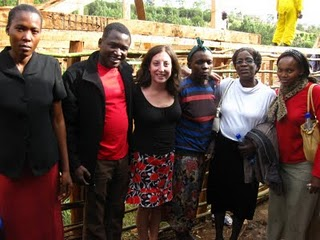 From left K/1 teacher Madahana Mable, Kennedy Odede, Jessica Posner, pre-school teacher Janet Olesi, Headmistress Joan Okumu, k/1 teacher Naomi Njuku