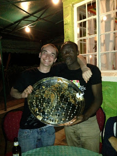 Aaron and Nicos show off their clean ethiopian platter.