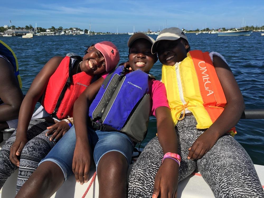 Ida, Joice and Eunice enjoying learning to sail on Martha's Vineyard
