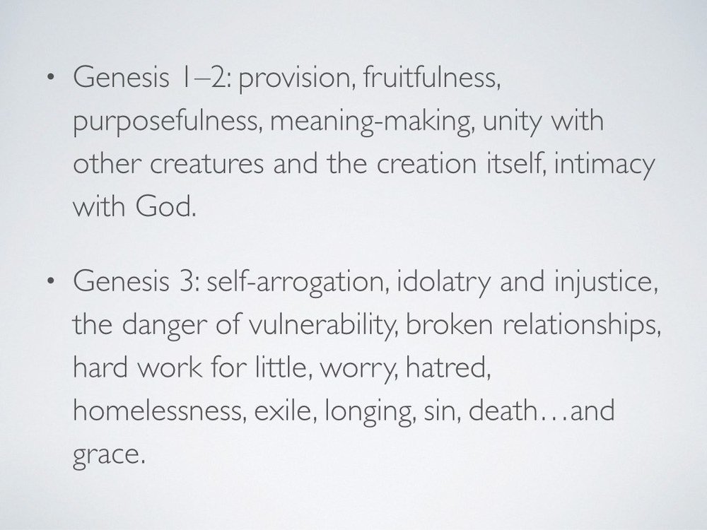 "This is exactly why the finale of Genesis 3 is so heartbreaking. When Adam and Eve were exiled from the Garden, they lost their home. They no longer belonged anywhere or to anyone with the same intimacy and safety with which they had belonged to God and each other and all of creation in Eden. As Margaret Kim Peterson wrote, ""Home, once an encompassing reality, was now reduced to dim memory and distant longings"" (23). The cycles of exile and homecoming that we see throughout redemptive history started with one flaming moment on the east edge of Eden."
