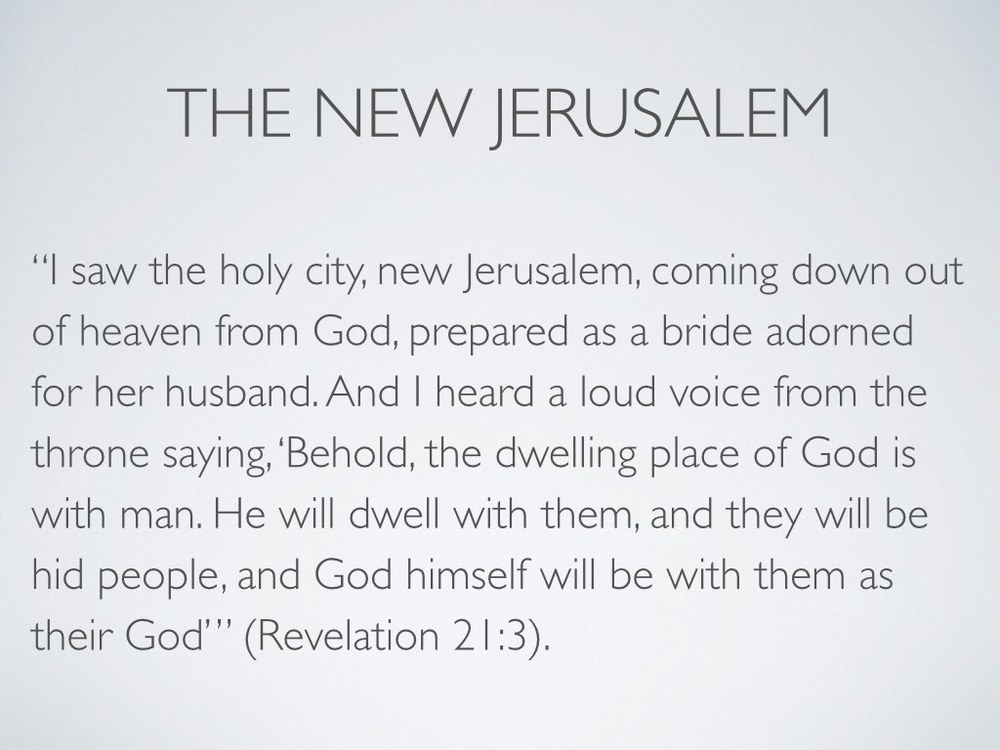 "Then we get a glimpse of his handiwork in Revelation 21. Indeed, ""nowhere but [the New Jerusalem] will ever fully satisfy the human longing for home"" (Peterson 24). Because in the New Jerusalem, we finally return home to God (see v 23).     God is the great homemaker. Indeed, God  is  home.    The peace of the earth itself is contingent upon the complete homecoming of the sons of God (see Isaiah 55:12 and Romans 8:12). When the final adoption decree is filed and the adopted children of God come into the new age, then the earth will sigh relief that it is finished. So we do not know how long we must wait, but we do know what we must do in the meantime. We must practice that vision of home now because we will enjoy that reality in the age to come. Anyone who looks forward to that great place and that great day cannot sit still in a broken world: our Father intends to bring many sons to glory. So we must speak and breathe the gospel into our neighbors, we must pour ourselves into ministries of mercy, we must pour ourselves out as drink offerings."