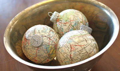 Paper-mache map ornaments...