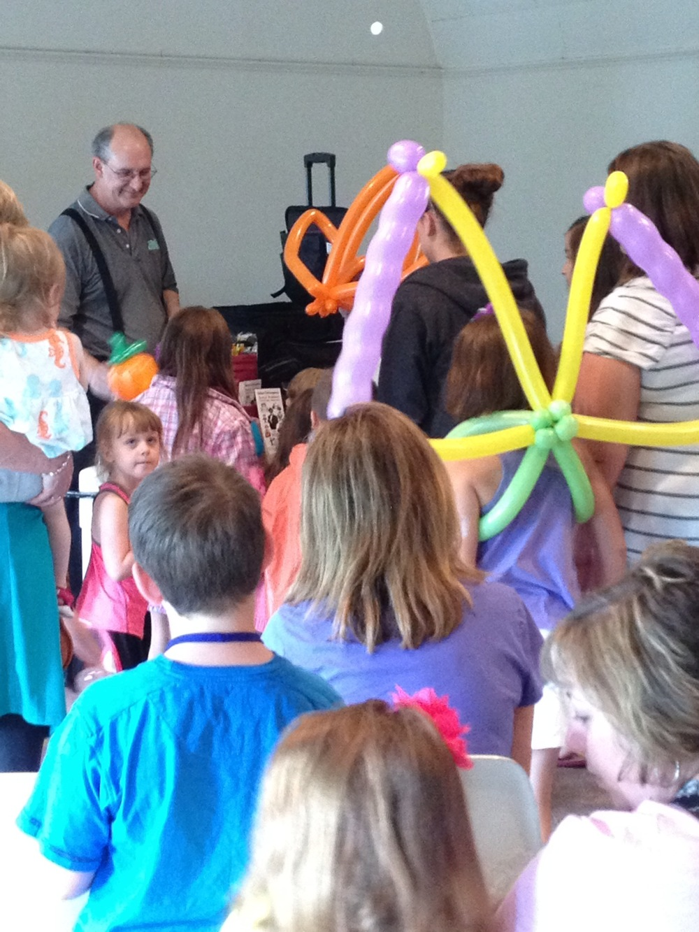 Daryl Baldwin delighted children with balloon animals.  40 children and 25 adults attended.