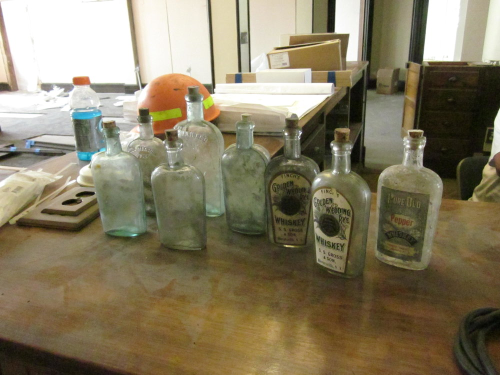 Bottles found in ceilings circa 1905