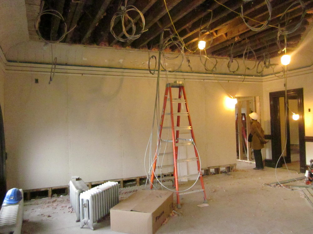 Electrical wiring in the director's former office.
