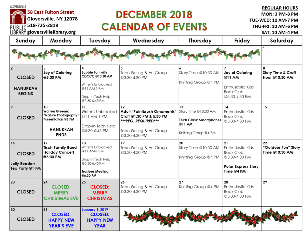 Click on image for printable calendar and event descriptions.