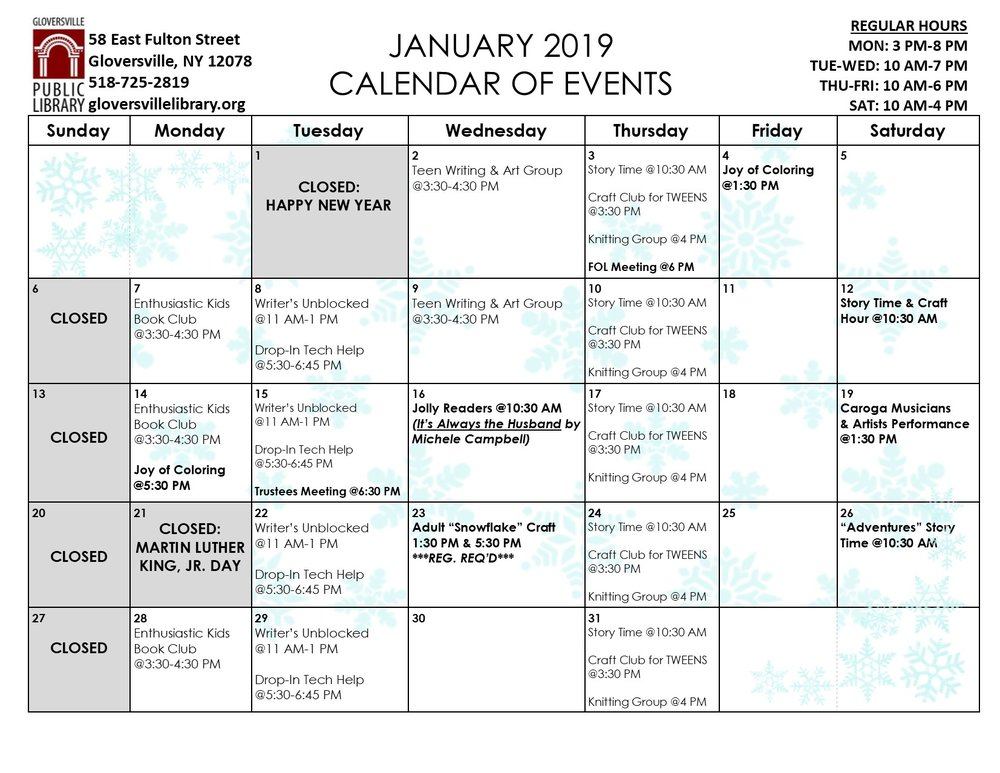 Click on the above calendar for a printable version as well as program descriptions.