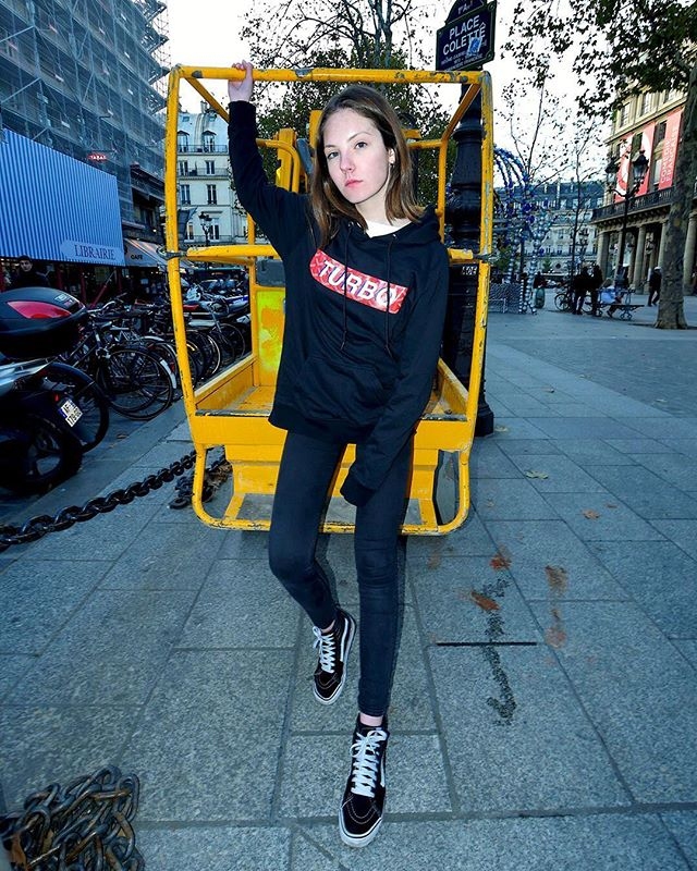 "Equipped to take you higher. @chapodesta spotted in our kangaroo pocket ""PARIS"" hoodie in black. 🚧  #TURBOSTORE  Limited styles available at our web-shop! Link in bio."