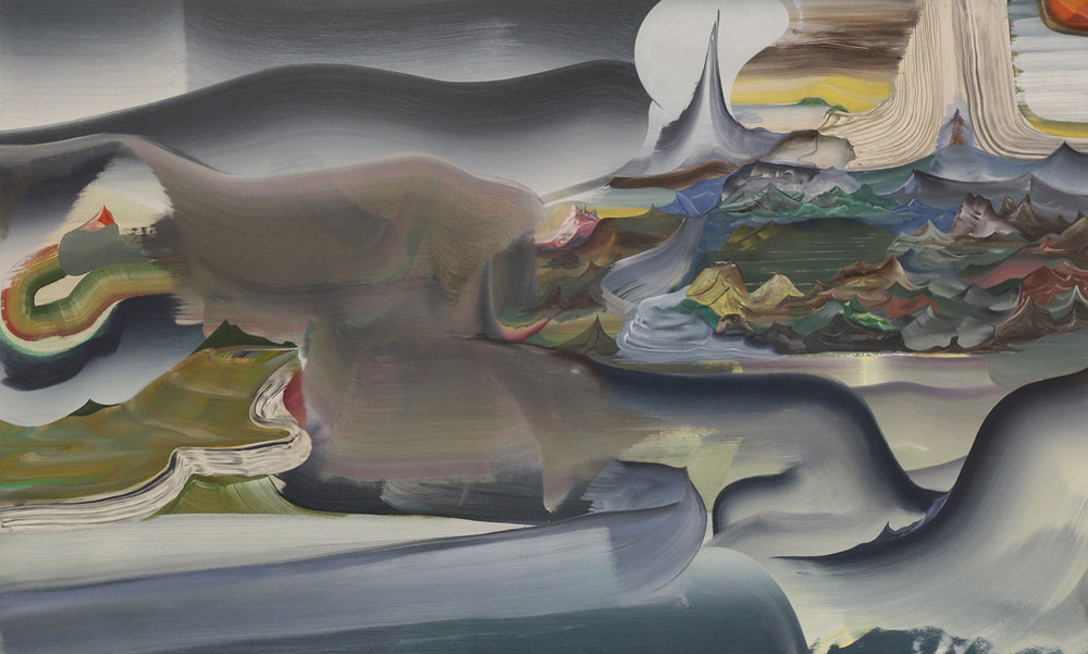 "Here: in the Rhinal Cortex , 2013 Oil on linen 36"" x 60"""