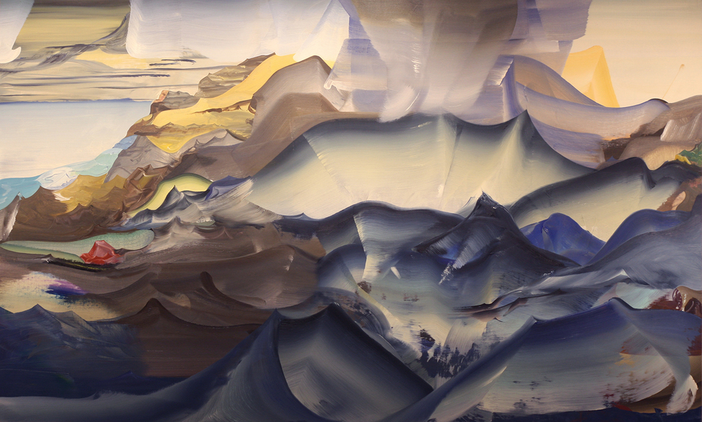 "Mud, Mountains, Water and Mist,   2013  Oil on linen, 36"" x 60"""