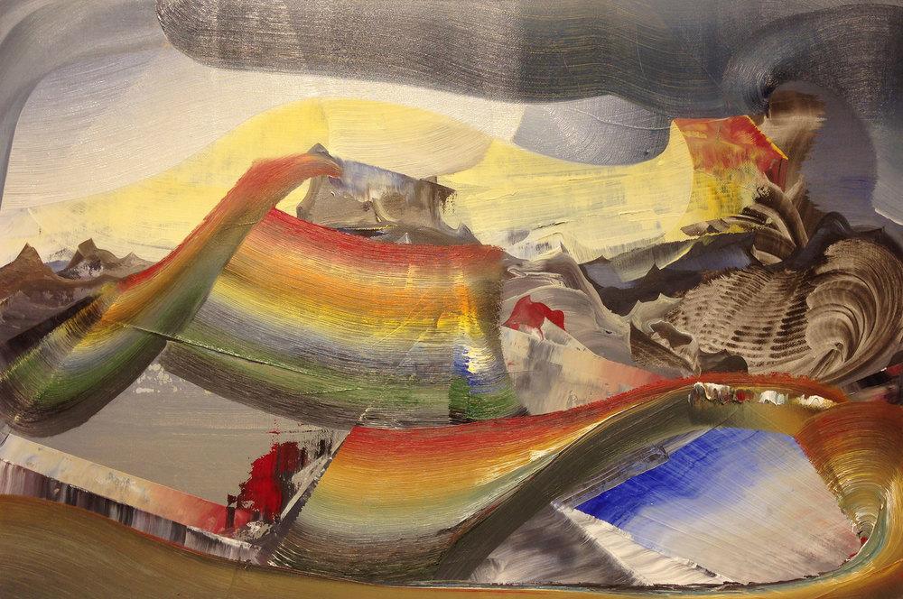 """ChromaBlast , 2015 Oil on linen, 12"""" x 18"""""""