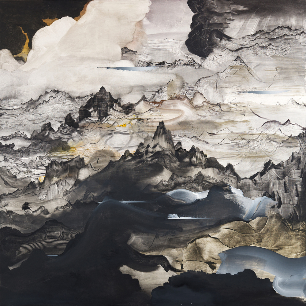"Mobile Dust , 2015 Oil on canvas, 79"" x 79"""