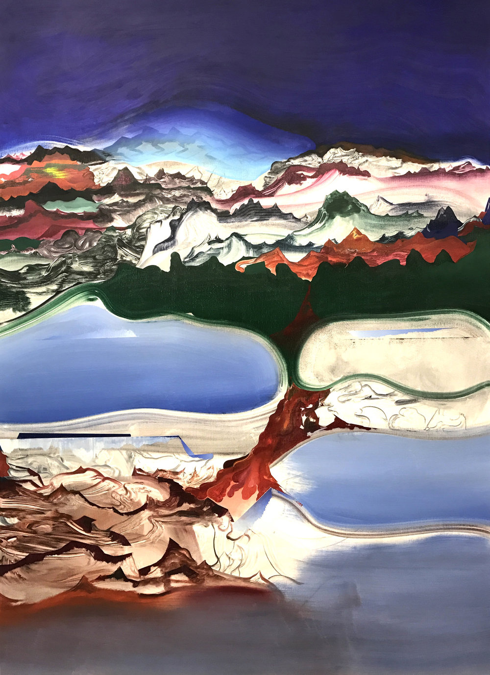 "Fire Drip , 2016 oil on canvas, 54"" x 76"""