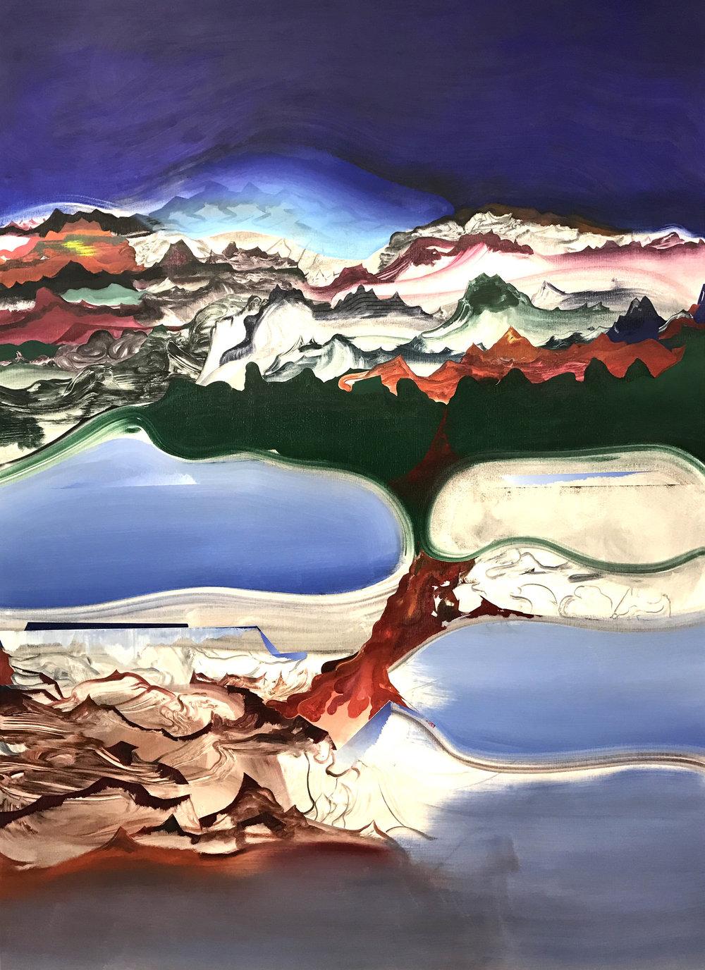 "Fire Drip , 2016 oil on canvas, 54"" x 76"""