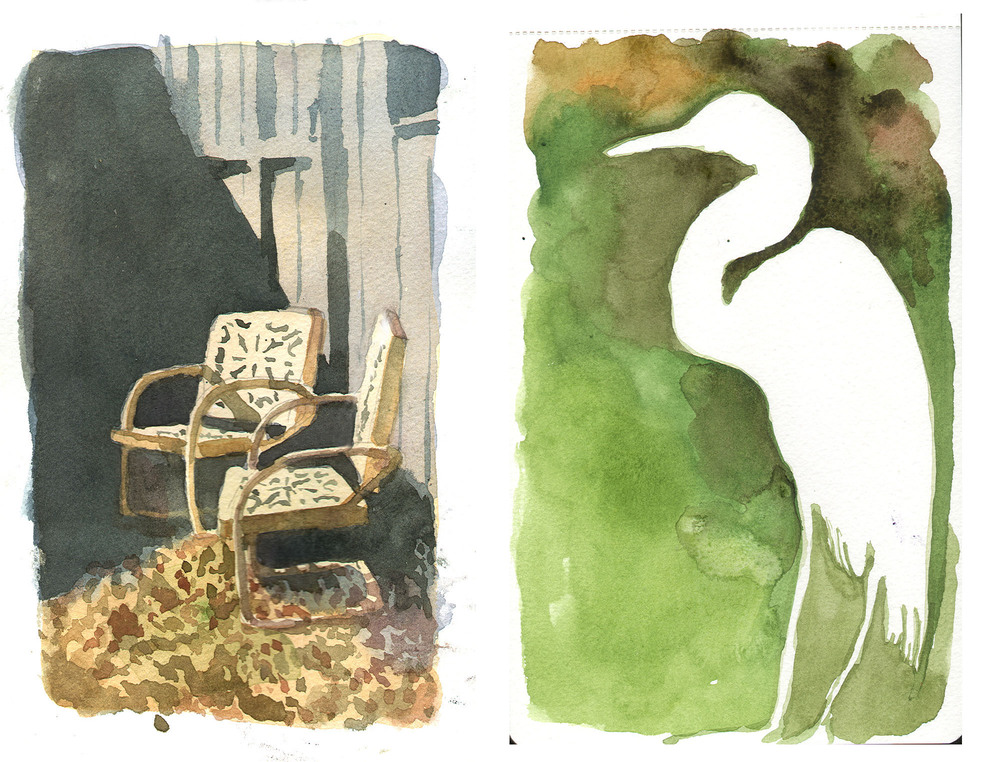 Lawn chairs and egret.