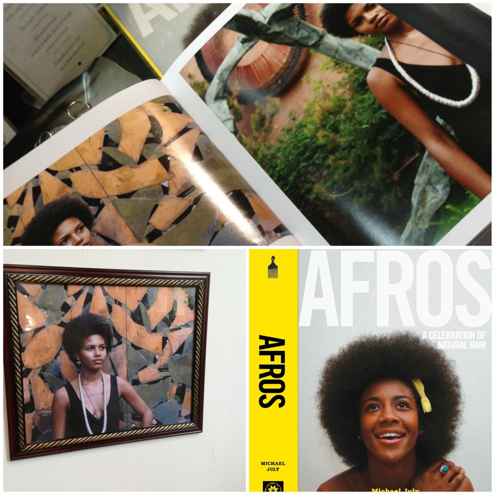 Mengly Germania Hernandez featured on two pages of Afros: A Celebration of Natural Hair by Michael July and exhibit at Powerhouse in Dumbo.
