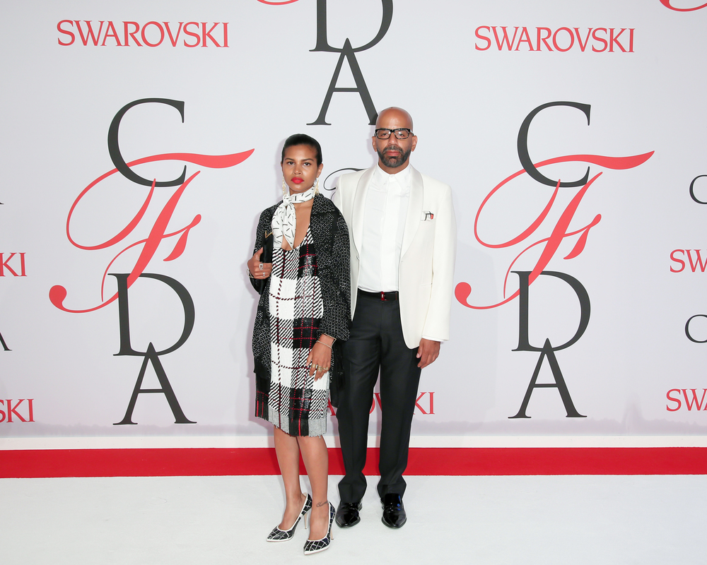 Mengly Hernandez and Simon Alcantara CFDA Awards 2015. Mengly wearing Simon Alcantara Gold Fringe Earrings and hand woven cuffs, and Linea Germania scarves Photo by: Matteo Prandoni BFA