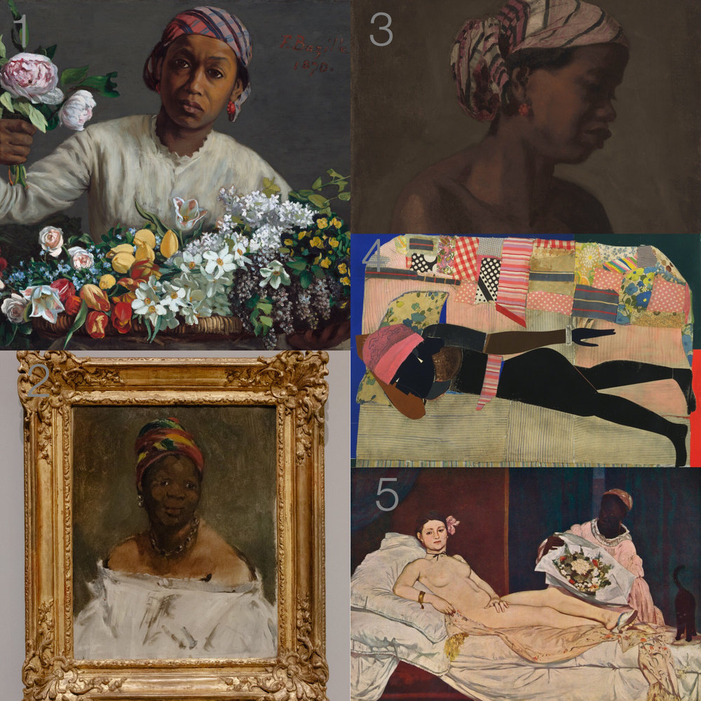"1.""Young Woman With Peonies,"" 1870 2.Manet's ""La négresse (Portrait of Laure),"" 1863 3.Thomas Eakins's ""Female Model,"" circa 1867-69 4.Romare Bearden's ""Patchwork Quilt,"" 1970 5.Olympia, 1856 by Edouard Manet"