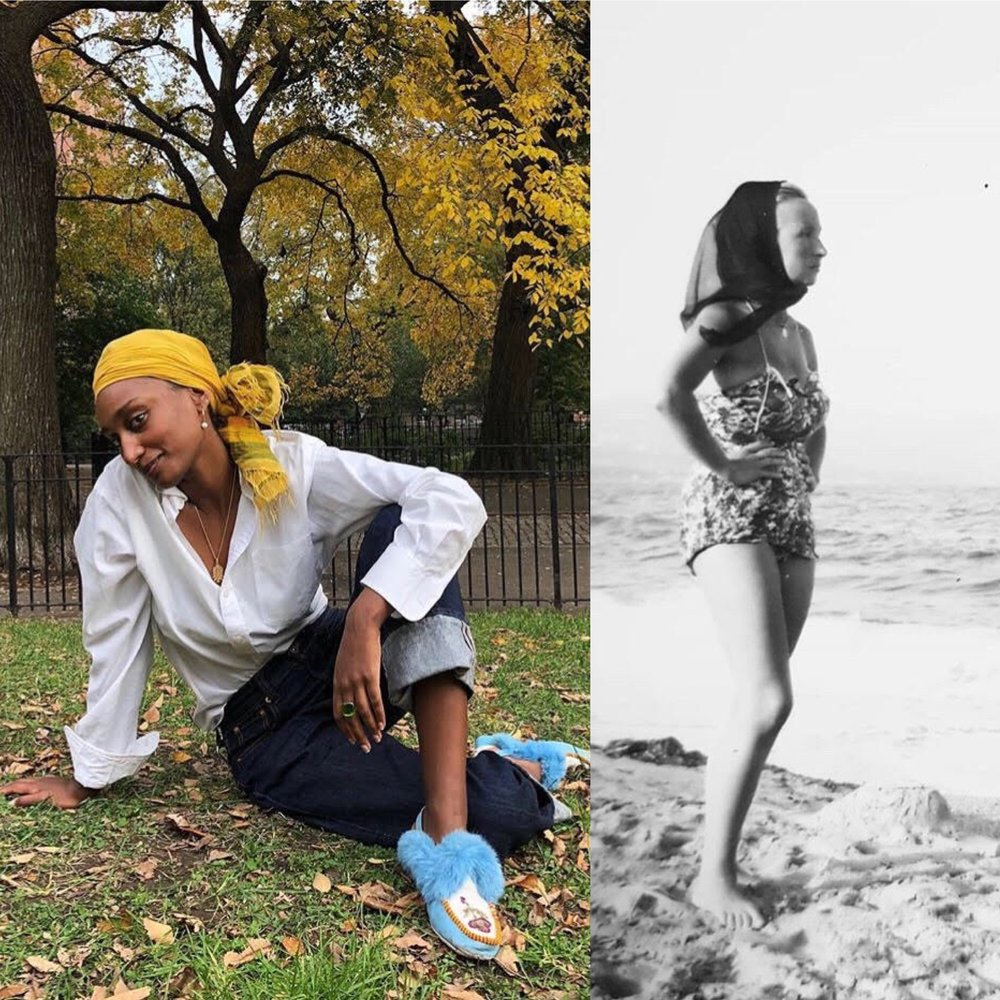 Left:  Mekdela Maskal , transdisciplinary media activist, wears a lovely yellow headscarf. Right: A photo of  Ihsane Baraka 's husband's grandmother flaunting a beautiful scarf in Morocco