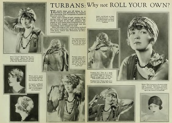 1926, how to tie a scarf like a  Turban