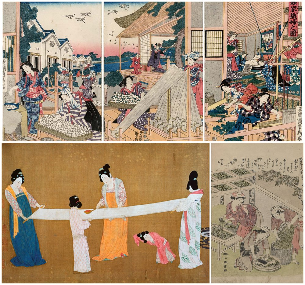 Top Row:   Women Making Silk at Home  1847–52  Bottom Left:   12th Century Silk Making   Bottom Right:   Japanese Silk