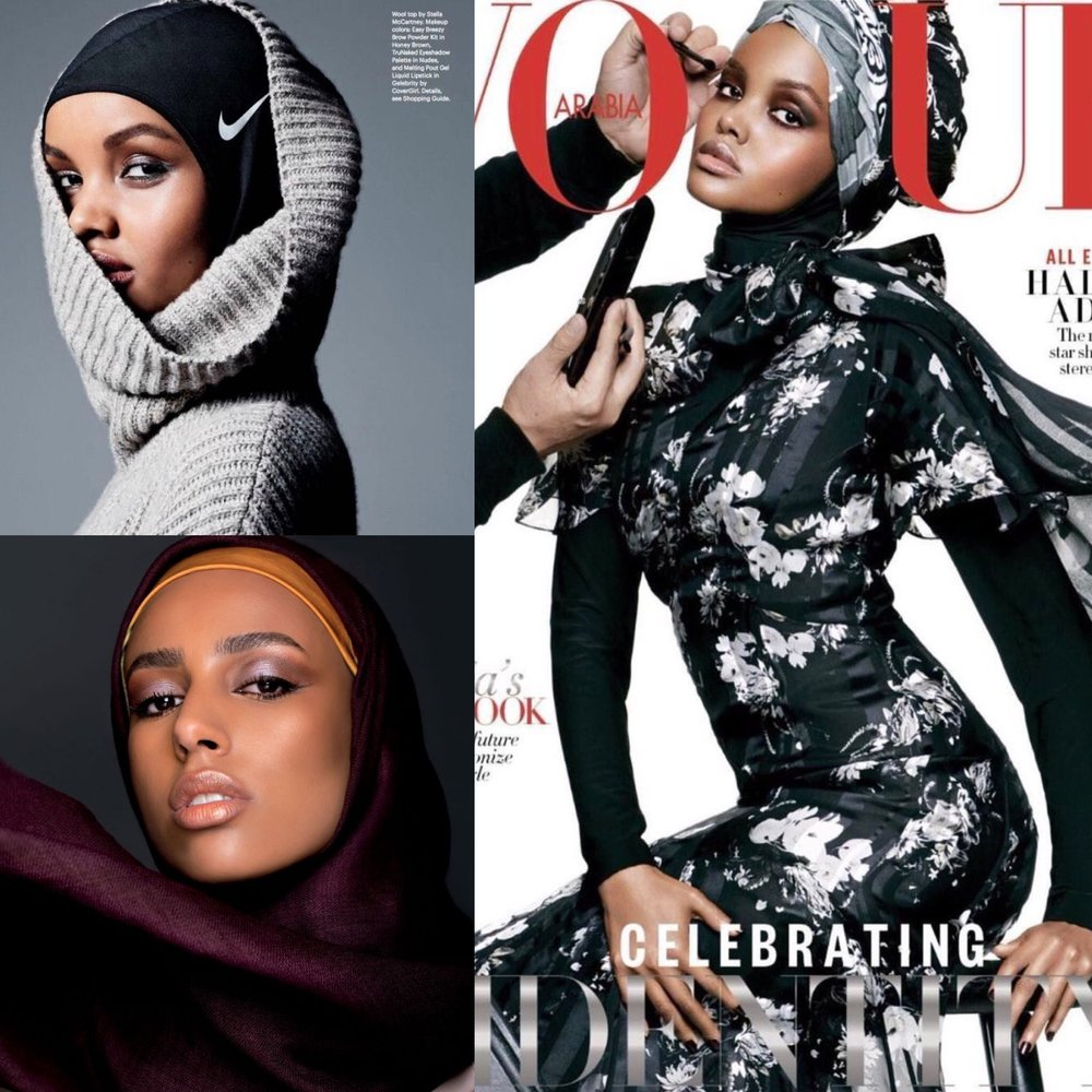 Top Left:  Halima Aden modeling a  Nike Hijab   Bottom Left:  Photograph by Mireya De Sagarra for  Vogue Arabia   Right:  Halima Aden wearing hijab on cover of  Vogue Arabia