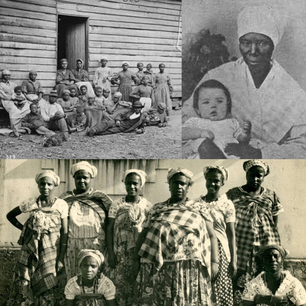 "Top Left:  Slave women and men wearing  headwraps   Top Right:  Black "" Mammy "" taking care of white child  Bottom:   African and Afro-Latina  slaves in headwraps"
