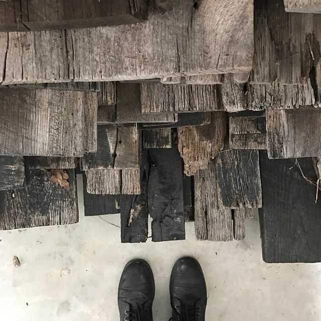 Dark, almost charred, reclaimed wood from Kentucky to match this gloomy day.